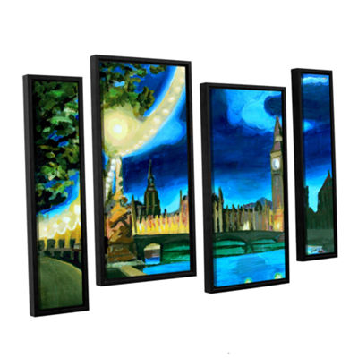 Brushstone London Big Ben and Parliament with Thames 4-pc. Floater Framed Staggered Canvas Wall Art