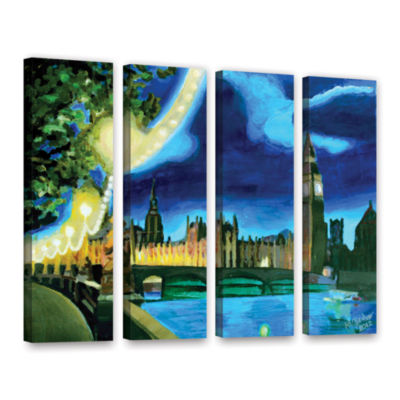 Brushstone London Big Ben and Parliament with Thames 4-pc. Gallery Wrapped Canvas Wall Art
