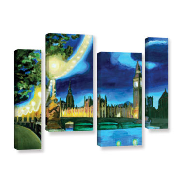 Brushstone London Big Ben and Parliament with Thames 4-pc. Gallery Wrapped Staggered Canvas Wall Art