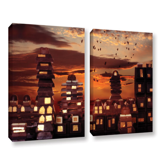 Brushstone Sweet Cityscape 2-pc. Gallery Wrapped Canvas Wall Art
