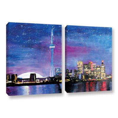 Brushstone Toronto Skyline at Night 2-pc. GalleryWrapped Canvas Wall Art