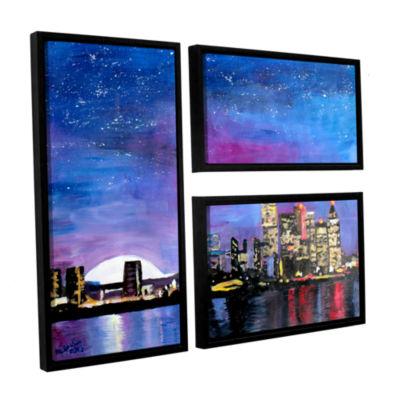 Brushstone Toronto Skyline at Night 3-pc. Flag Floater Framed Canvas Wall Art