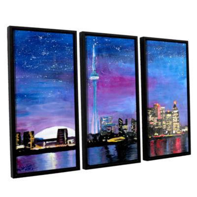 Brushstone Toronto Skyline at Night 3-pc. FloaterFramed Canvas Wall Art