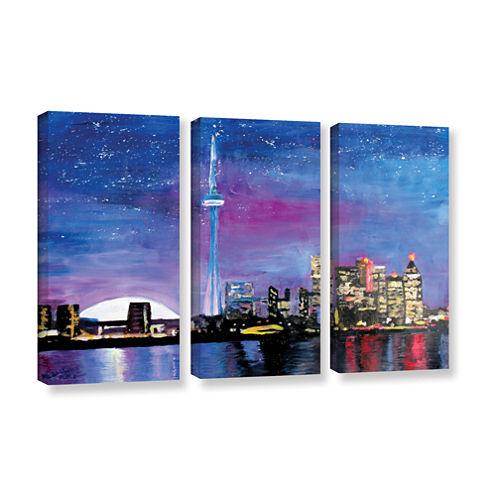 Brushstone Toronto Skyline at Night 3-pc. GalleryWrapped Canvas Wall Art