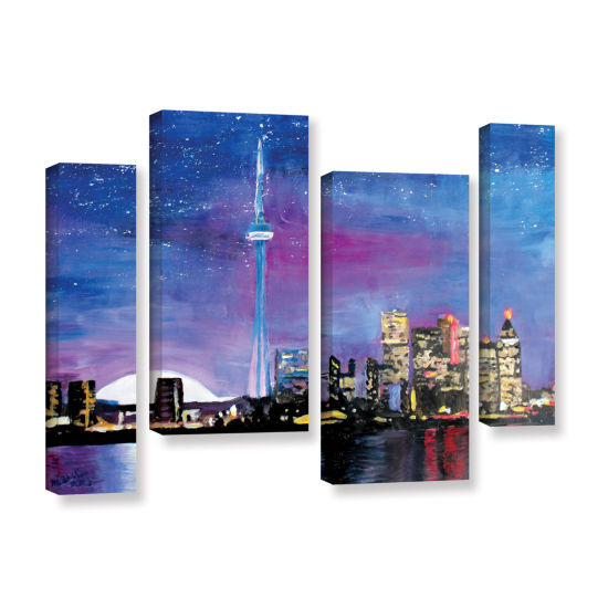 Brushstone Toronto Skyline at Night 4-pc. GalleryWrapped Staggered Canvas Wall Art