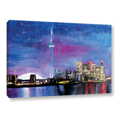 Brushstone Toronto Skyline at Night Gallery Wrapped Canvas Wall Art