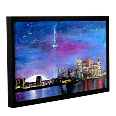 Brushstone Toronto Skyline at Night Gallery Wrapped Floater-Framed Canvas Wall Art