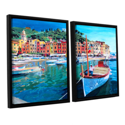 Brushstone Tranquility of the Harbour of Portofino2-pc. Floater Framed Canvas Wall Art