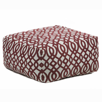 Chandra Textured Square Printed Cotton Pouf Ottoman