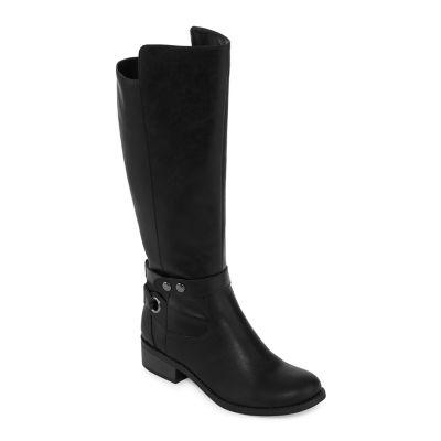 Arizona Womens Cuala Wide Calf Riding Boots Flat Heel Zip