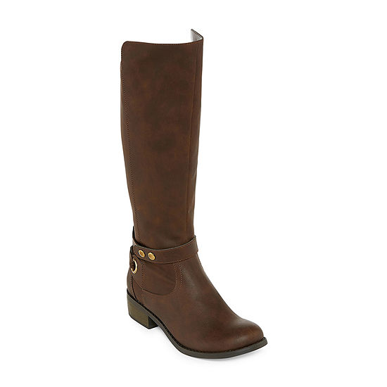 61ae2a9712ec Arizona Womens Cuala Wide Calf Riding Boots Flat Heel Zip - JCPenney