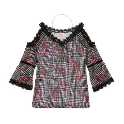 Arizona Lace Trim Print Top with Necklace - Girls' 4-16