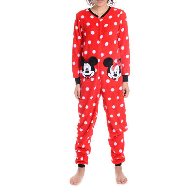 Disney Womens Juniors Fleece Onesie Pajama Long Sleeve
