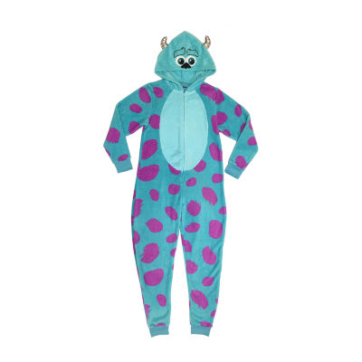Disney Womens Juniors Plush Onesie Pajama Long Sleeve Hooded Neck