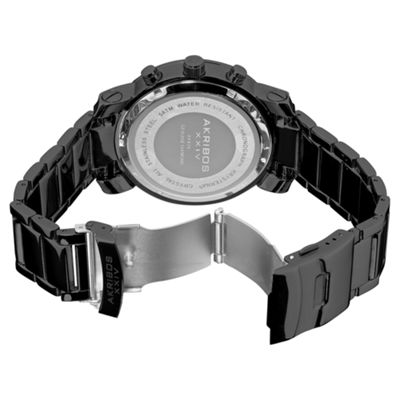 Akribos XXIV Mens Black Strap Watch-A-439bk