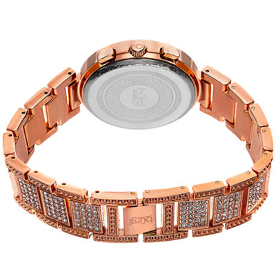 Burgi Womens Rose Goldtone Strap Watch-B-123rg