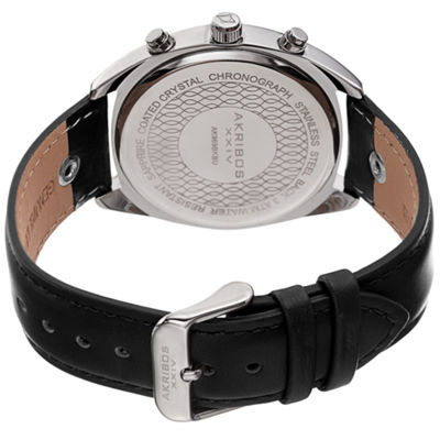 Akribos XXIV Mens Black Strap Watch-A-969bkbu
