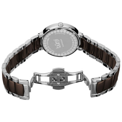 Burgi Womens Two Tone Strap Watch-B-072br
