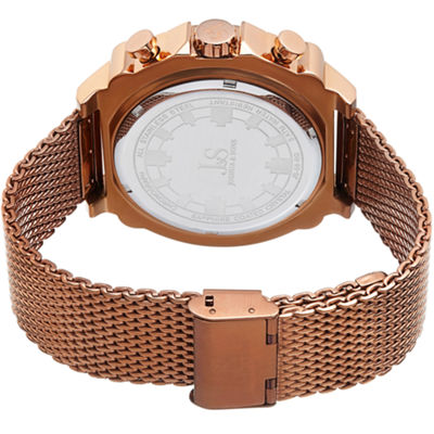 Joshua & Sons Mens Rose Goldtone Strap Watch-J-58rg