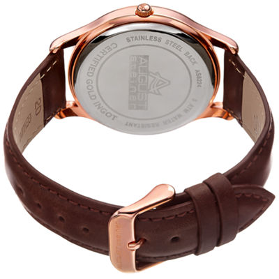 August Steiner Mens Brown Strap Watch-As-8224rg