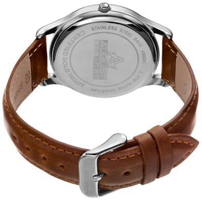 August Steiner Mens Brown Strap Watch-As-8224ss