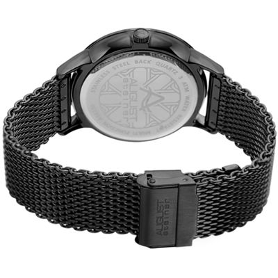 August Steiner Mens Black Strap Watch-As-8230bk