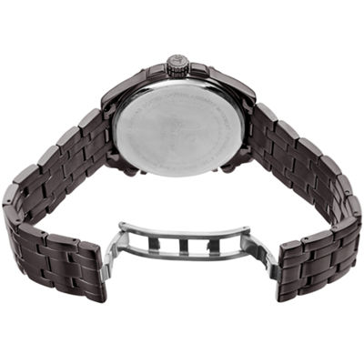 Joshua & Sons Mens Gray Strap Watch-J-128gnbu