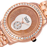 Burgi Set With Swarovski Crystals Womens Rose Goldtone Stainless Steel Strap Watch-B-106rg