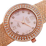 Burgi Womens Rose Goldtone Strap Watch-B-097rg