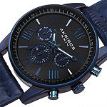 Akribos XXIV Mens Blue Leather Strap Watch-A-911bu