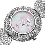 Burgi Set With Swarovski Crystals Womens Silver Tone Strap Watch-B-109ss
