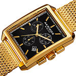 Akribos XXIV Mens Gold Tone Stainless Steel Strap Watch-A-918ygb