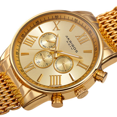 Akribos XXIV Mens Gold Tone Strap Watch-A-919yg