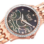 Burgi Womens Rose Goldtone Stainless Steel Strap Watch-B-081rg