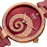 Burgi Set With Swarovski Crystals Womens Red Strap Watch-B-143bur