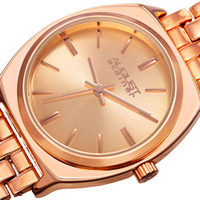 August Steiner Womens Rose Goldtone Strap Watch-As-8186rg