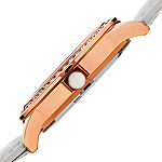 Burgi Set With Swarovski Crystals Womens White Leather Strap Watch-B-144wtr