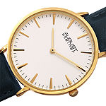 August Steiner Womens Gold Tone Leather Strap Watch-As-8247ygbu