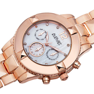 August Steiner Womens Rose Goldtone Strap Watch-As-8107rg