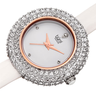 Burgi Womens White Strap Watch-B-195wt