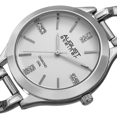 August Steiner Womens Silver Tone Strap Watch-As-8222ss