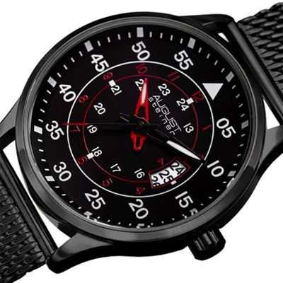 August Steiner Mens Black Strap Watch-As-8223bk