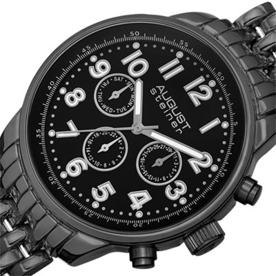 August Steiner Mens Black Strap Watch-As-8147bk