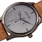 August Steiner Mens Brown Leather Strap Watch-As-8243gnbr