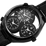Joshua & Sons Mens Black Leather Strap Watch-J-119bk