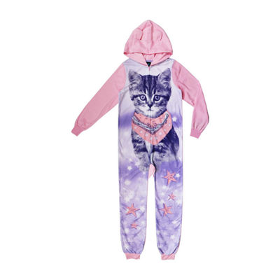 Jelli Fish Kids Girls Microfleece One Piece Pajama Long Sleeve Hooded Neck