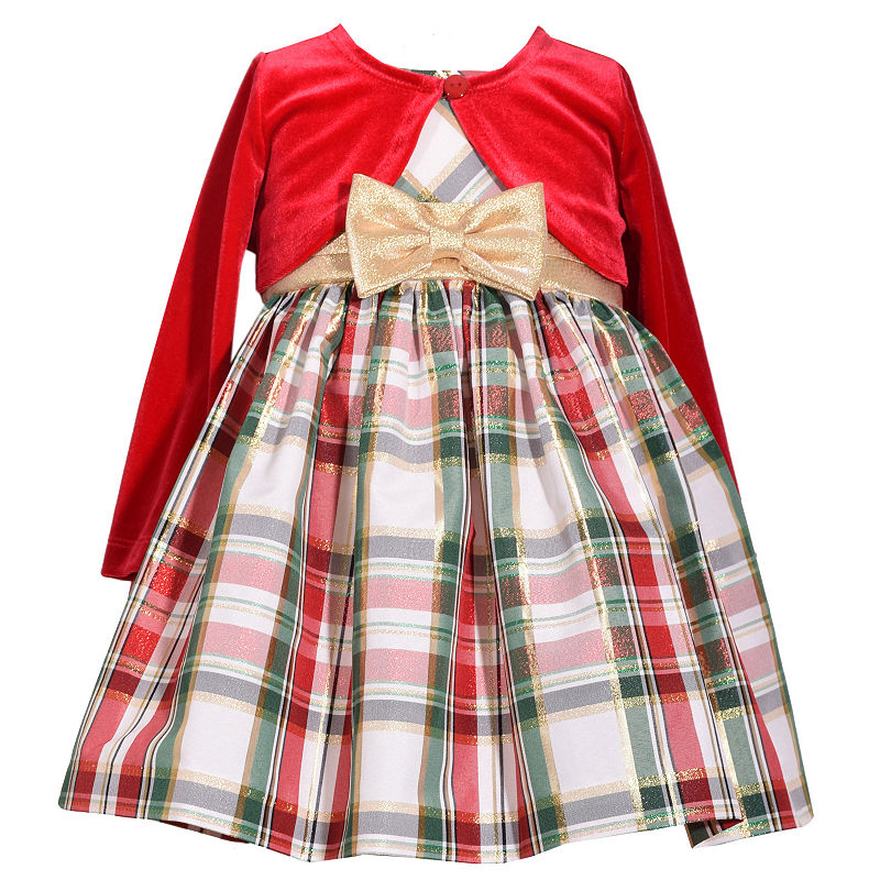 Bonnie Jean Long Sleeve Plaid A-Line Dress – Baby Girls