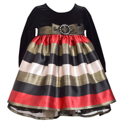 Bonnie Jean Long Sleeve Stripe A-Line Dress - Baby Girls
