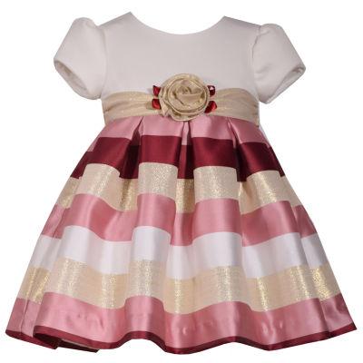 Bonnie Jean Short Sleeve Stripe A-Line Dress - Baby Girls