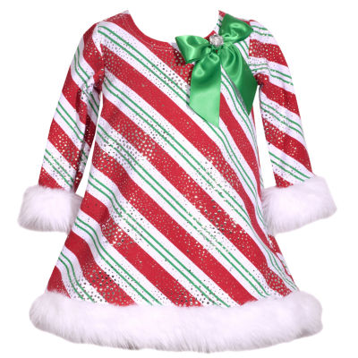 Bonnie Jean Long Sleeve Holiday A-Line Dress - Baby Girls